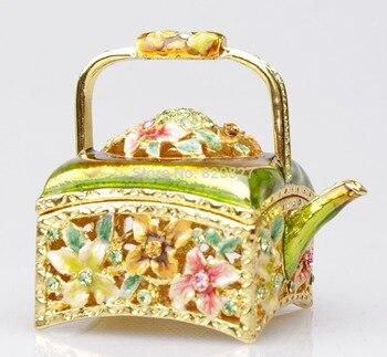 цена на alloy jewelry box Kettle Trinket Design Jewelry Box Lovely Design Earring Hold Trinket Box