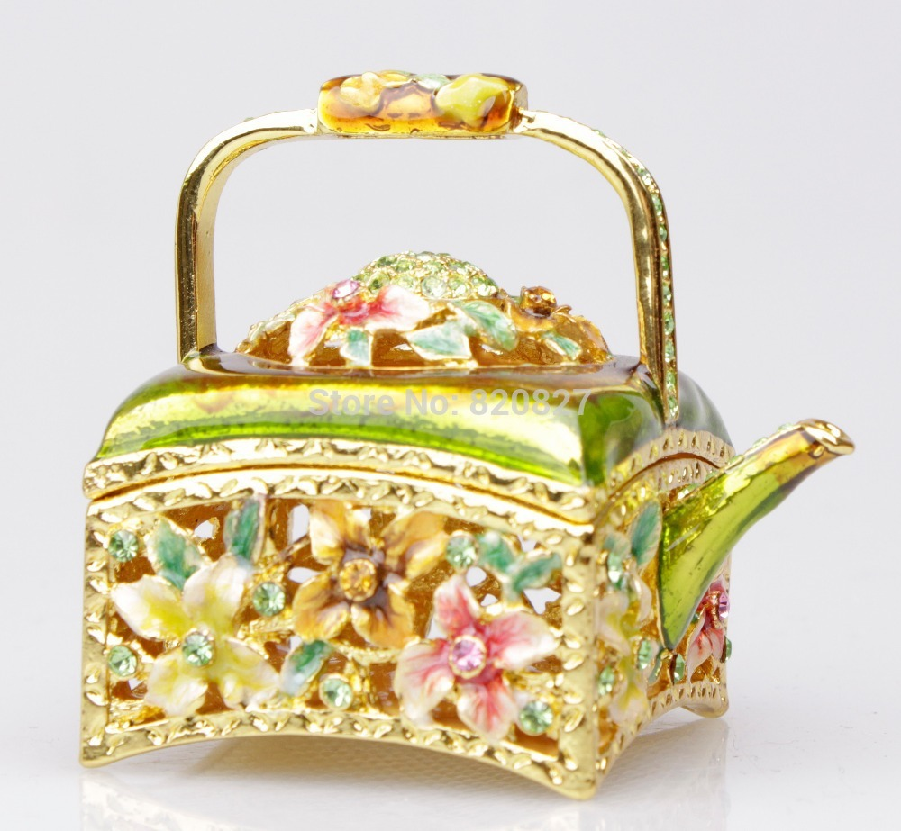 alloy jewelry box Kettle Trinket Design Jewelry Box Lovely Design Earring Hold Trinket Box
