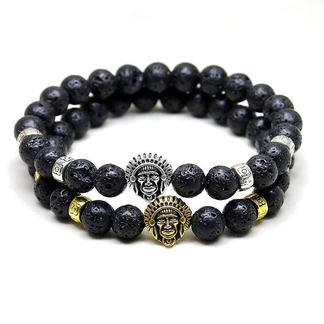 Amazing Indians Head Bracelet Men Women Natural Stone Jewelry Best Quality Black Lava Bead