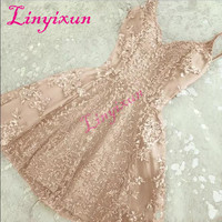 2018 Elegant A Line Crystals Short Homecoming Dresses New Lace Appliques Mini Spaghetti Straps Cheap Cocktail Dresses Custom
