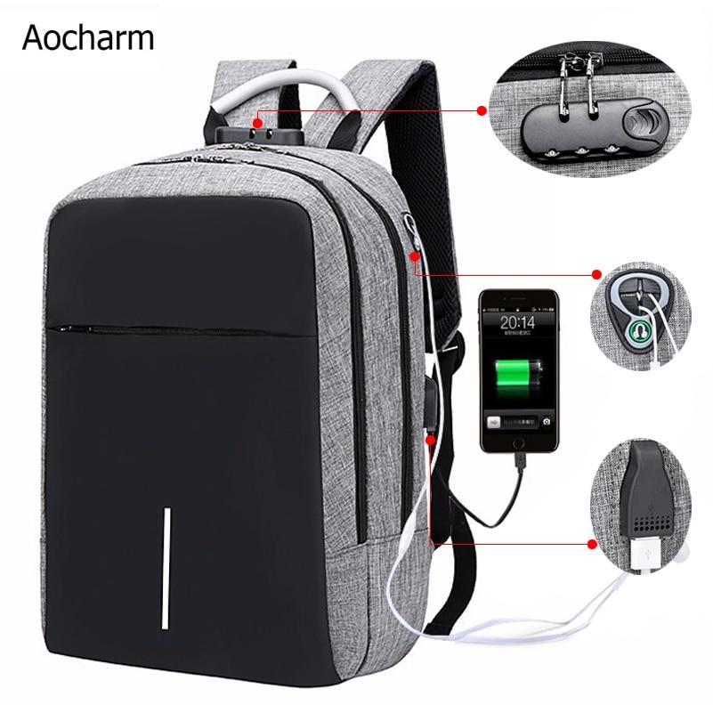 Laptop Backpack Men Bag Anti Theft Backpack Travel Backpack Man USB Charger Port  Earphone Port School Backpacks For Laptop Lock