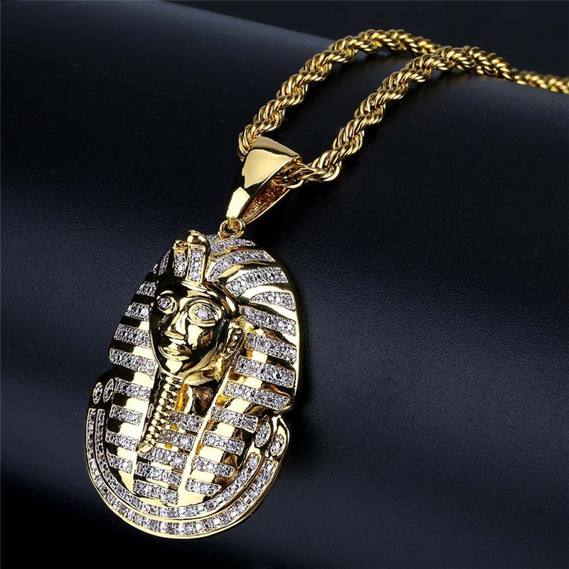 New Arrival Hip Hop Jewelry Iced Out Egyptian Pharaoh Pendant Necklace Zircon Charm Gold Chain for Men image