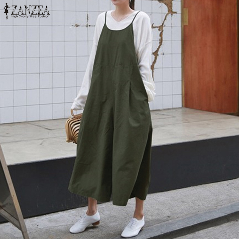 2019 ZANZEA Summer Women Rompers Casual Strappy Sleeveless Solid Loose Jumpsuit Cotton Linen Overalls Wide Leg Pants Oversized