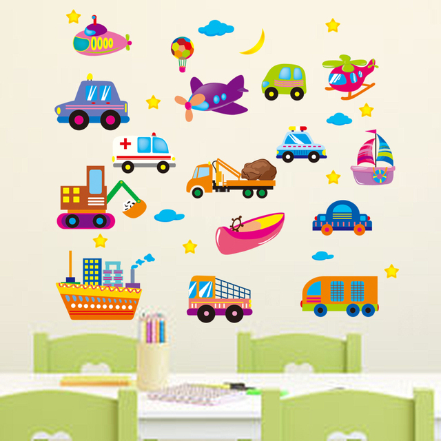 Decoratie Stickers Kinderkamer.Cartoon Ruimteschip Trein Vervoer Trolley Babykamer Muurstickers