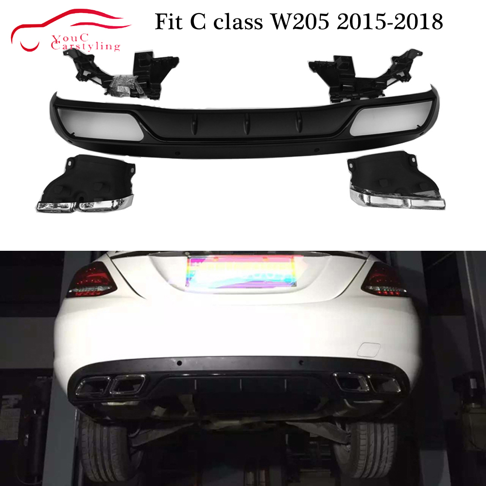 AMG Style <font><b>Rear</b></font> <font><b>Diffuser</b></font> with 304 Stainless Steel 4-outlet Exhaust Tips for Mercedes C class W205 Classic Bumper <font><b>C300</b></font> C350 2015 + image