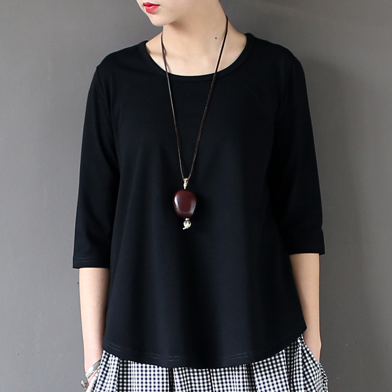 Johnature Women Cotton   T  -  Shirts   Black White 2018 Summer New Half Sleeve O-Neck One Size Casual Knitted Fashion Tops