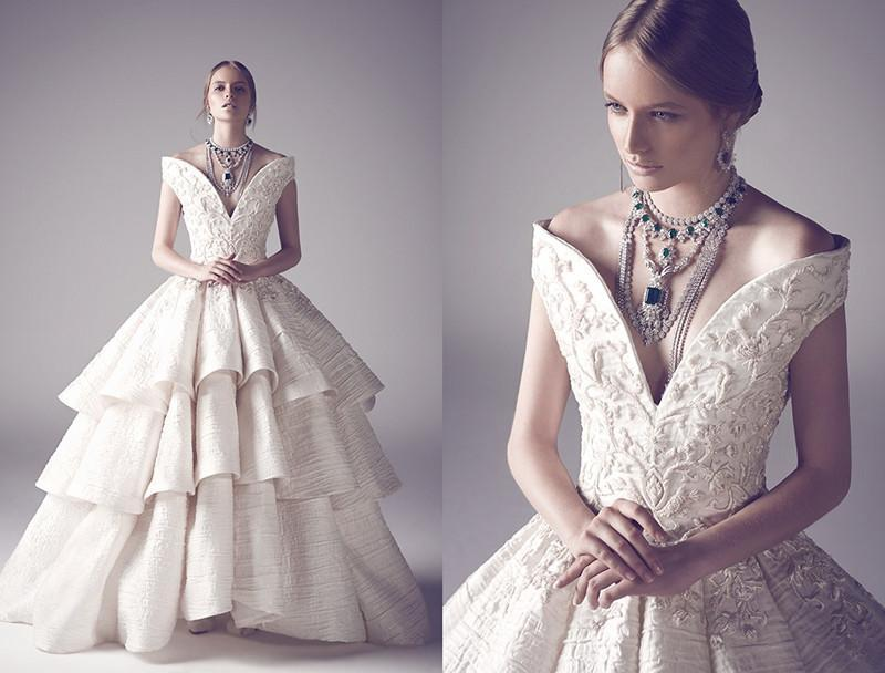 Ruffle Ball Gown Wedding Dress: Luxury Ball Gown Wedding Dresses With Embroidery Beads