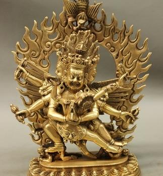 10 Tibet Brass Buddhism Mahakala Wrathful Heruka Vajrakilaya Buddha Statue statue