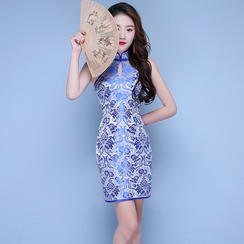 כחול לבן פורצלן סקסי ללא שרוולים שמלה הסינית מסורתי Qipao המודרני עתיקות למכירה Robe Courte Cheongsam צ 'י פאו