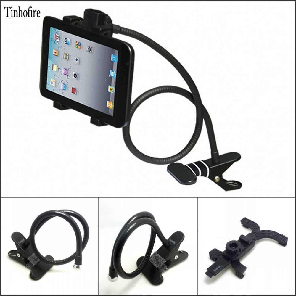 Tinhofire Rotating Flexible bedside ABS& stainless steel table Tablet PC holder stand mount bracket for 7-14 inch Ipad Tablet