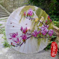 Delicate Purple Kapok Flower Oil Paper Umbrella Willow Fly with Birds on Tree Paper Parasol Beautiful Scence Paper Umbrella