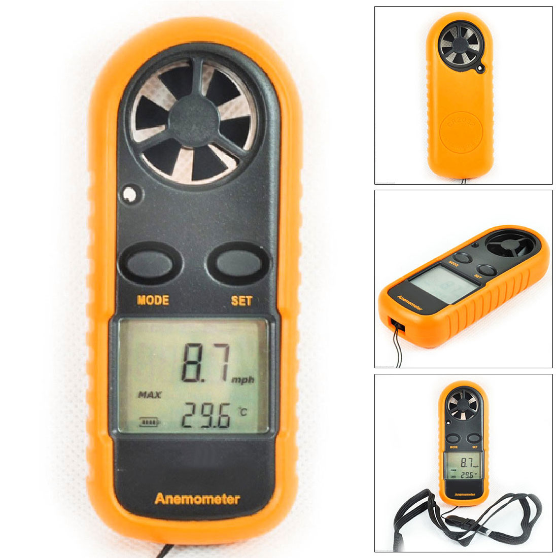 1pcs Portable Anemometer Thermometer 30m/s Wind Speed Gauge Meter Windmeter LCD Digital Hand-held Measure Tool