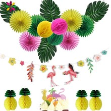 Hawaiian Party Decorations 15pcs/set With Flamingo Garlands Palm Leaves Cake Topper For Beach Summer Tropical Supplies
