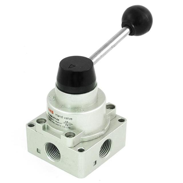 "HV-02 1/4"" Inlet Outlet Exhaust Three 3 Position Four 4 Way Pneumatic Air Hand Lever Valve Center Closed"