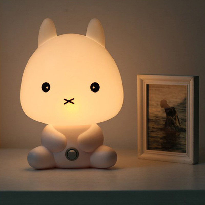 NEW Baby Room Rabbit/Bear/Panda/Dog Cartoon Animal Night Light Warm Lamp Children  Night Sleeping Bed Room Lamp Best Gift For