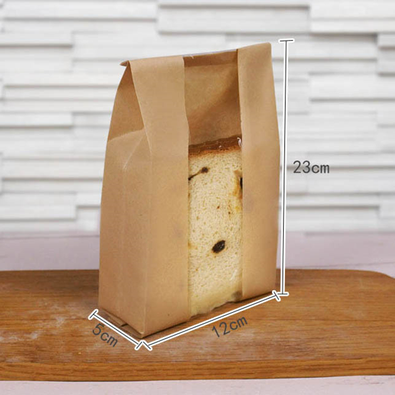 Food Grade Kraft Paper Bread Bags Window Open Size Small For 4 Pieces Toast Takeout Oilproof Puff Bag Fast Ng 50pc In Dinnerware Sets From