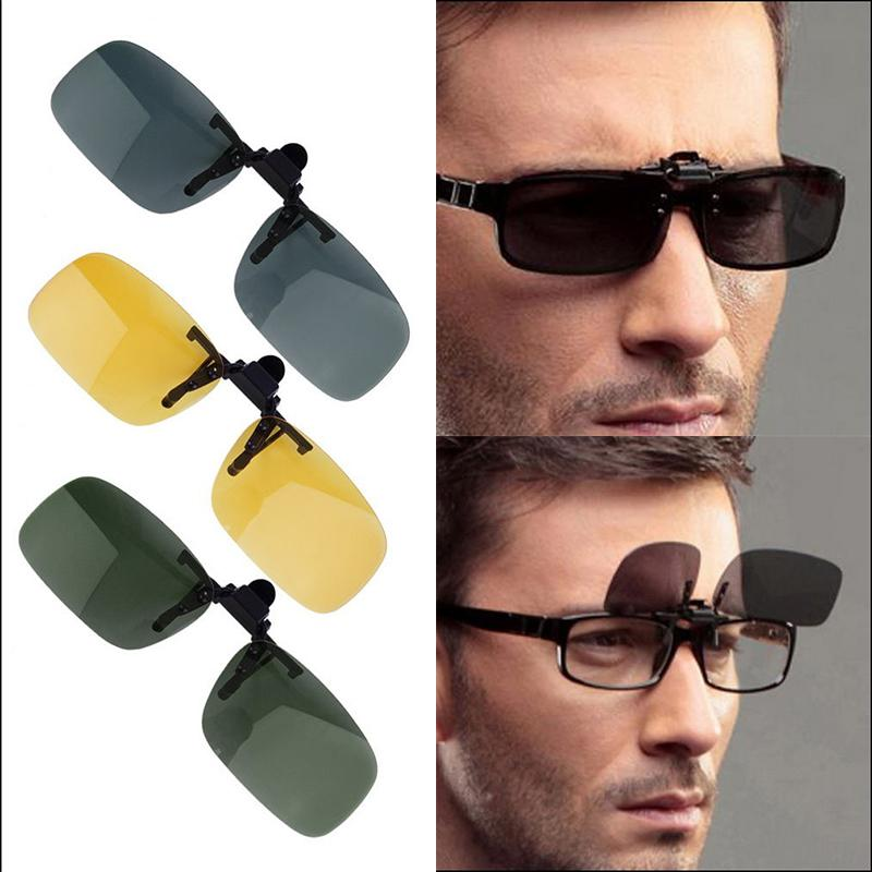 Polarized Glasses Day Night Vision Driving Sunglasses Clip-on Flip-up Lens Riding Cycling Sunglasses Lens Sun Eyeglasses