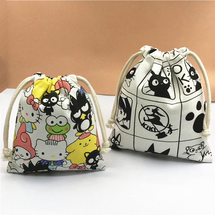 IVYYE 14 Or 17CM KT Cat Kiki's Cartoon Drawstring Bags Canvas Storage Handbags Makeup Bag Coin Bundle Pocket Purse NEW