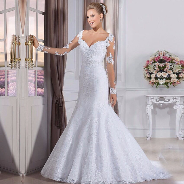 Brazil S Retail Long Mermaid Style White Lace Wedding Dresses With Sleeve Bridal Gowns Robe De