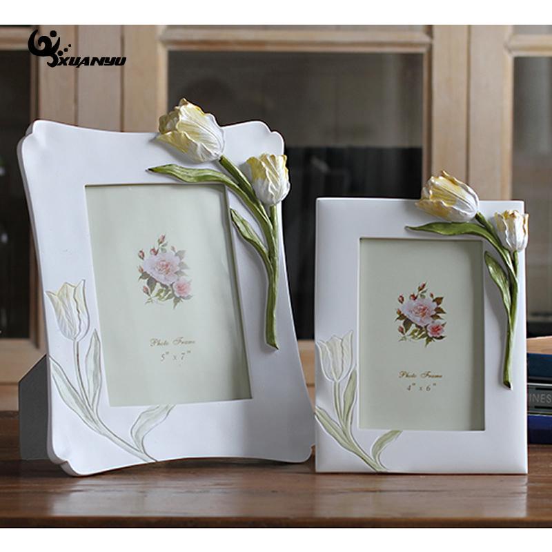 Рамки из фотополимера Настольный цветок фоторамки 6 дюймов 7 дюймов прямоугольник элегантный цветок декоративные рамы домашний декор
