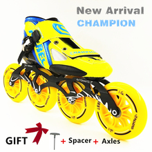 NEW Arrival Professional Race Speed Skate Shoes Women Men Big 4*110MM Wheels Roller Skate Inline Skating Boots Adults Kids Shoes