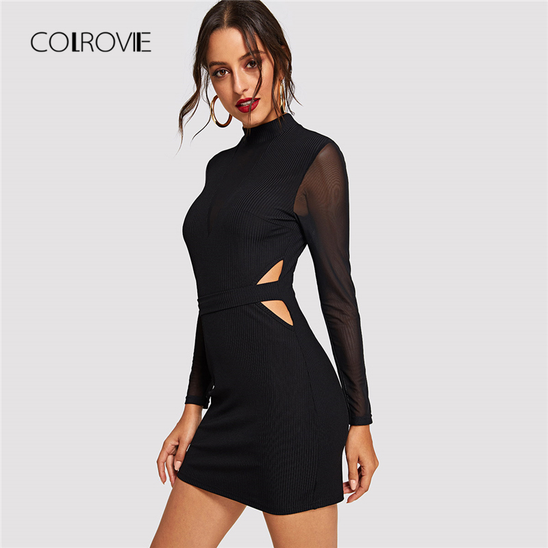 COLROVIE Black Solid Cut Out Sheer Mesh Sleeve Sexy Dress Women 2018 Autumn  Bodycon Long Sleeve 455c102900fd