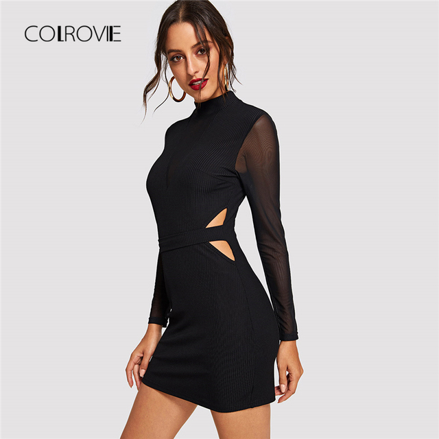 COLROVIE Black Solid Cut Out Sheer Mesh Sleeve Sexy Dress Women 2018 Autumn  Bodycon Long Sleeve 36e51b47aa46