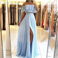 Sexy Straples Light Blue Sleeves Evening Dresses Long 2018 Chiffon with Lace A line Prom Dress Women Party Gowns robe de soiree