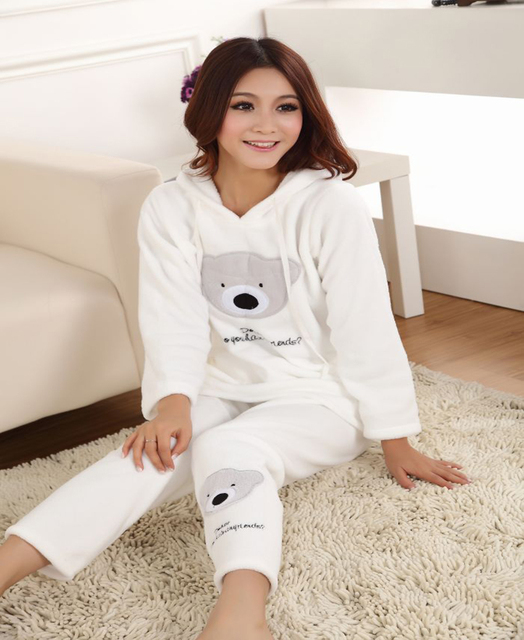 2015 New Autumn Winter Pajamas set For Women Panda Coral Flannel Animal  Clothing Set Home 62875ee75
