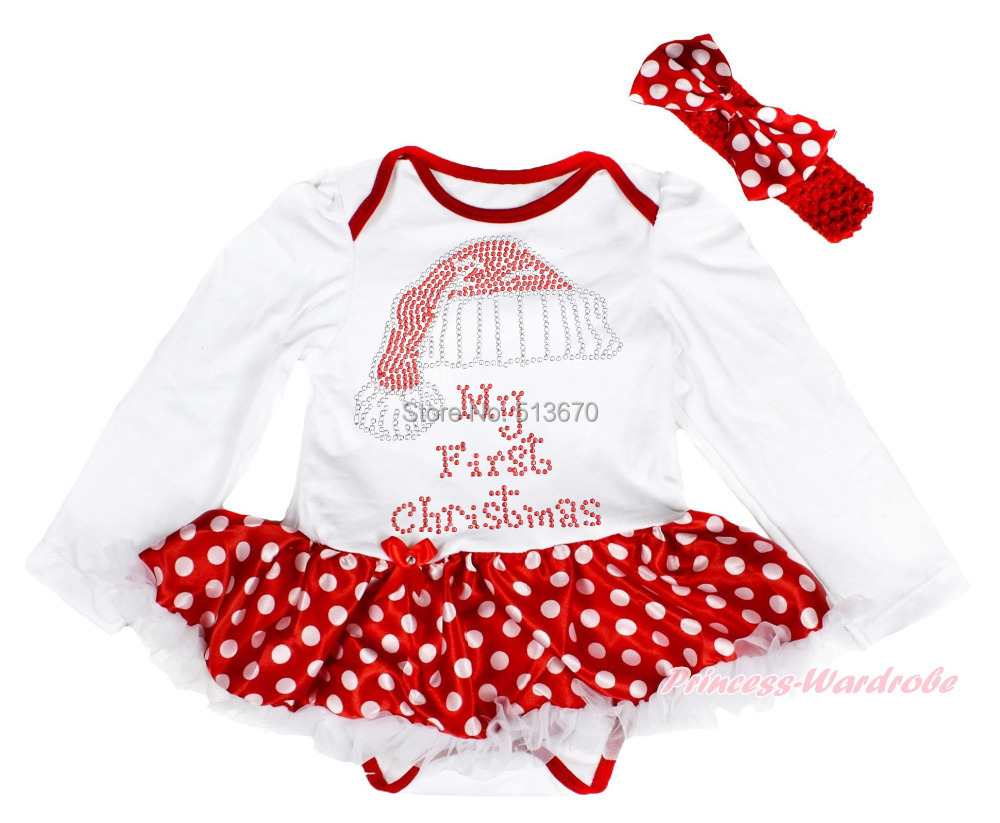 xmas rhinestone my first christmas print white bodysuit white minnie skirt girl baby dress nb 12month majsa0117 in bodysuits from mother kids on - 12 Month Christmas Dress
