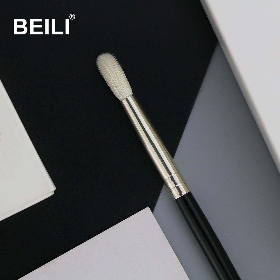 BEILI 1 Piece Goat Hair Precise blending Eye shadow Detailed small shade Single Makeup Brushes Black handle Silver ferrule 2