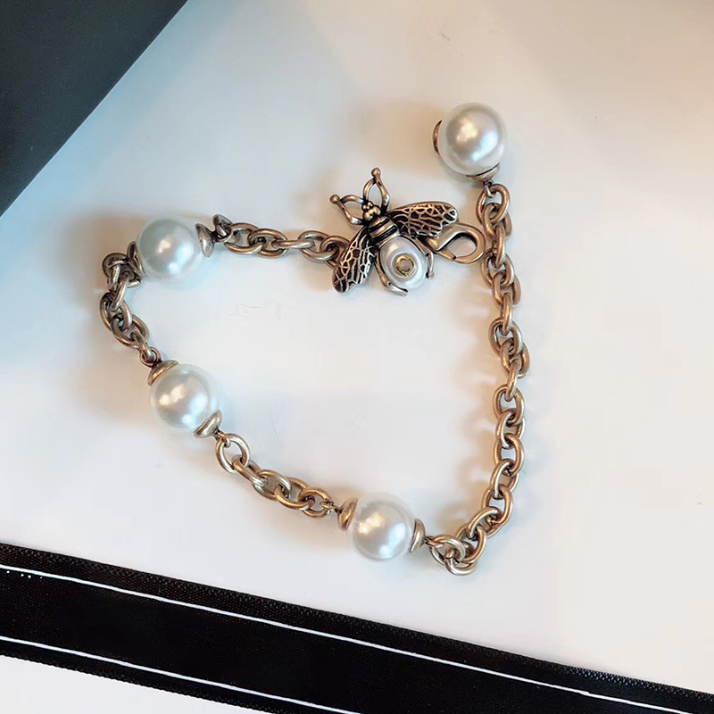 Us 17 99 10 Off Vintage Fashion Copper Jewelry Bee Bracelet With Pearl Antique Silver Pear Chain Famous Brand Women Bijoux In