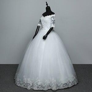 Image 4 - Hochzeit Kleid 2020 Neue Ankunft Blumen Schmetterling Gelinlik Stickerei Spitze Boot ausschnitt Prinzessin Hochzeit Kleider Vestidos De Novia