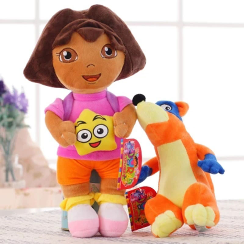 25 CM  Genuine Love Adventure Of Dora With Swiper Dolls Plush Toys Soft Stuffed Amine Kids Toy For Children Birthday Gift BF113 hot sale 12cm foreign chavo genuine peluche plush toys character mini humanoid dolls