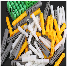 M4/M5/M6/M8/M10 Ribbed Plastic Anchor Wall Plastic Expansion Pipe Tube Wall Plugs Drywall Screw Yellow green gray(China)