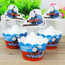 24pcs Thomas Card Cupcake Inserts Cake Topper Toppers Cartoon Decoration Birthday For Kids Party Supplies