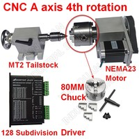 4 Axis rotation A Axis Extend Rotary & Nema23 stepper motor & Driver & 80mm Chuck& MT2 Tailstock kit for wood CNC Milling Router