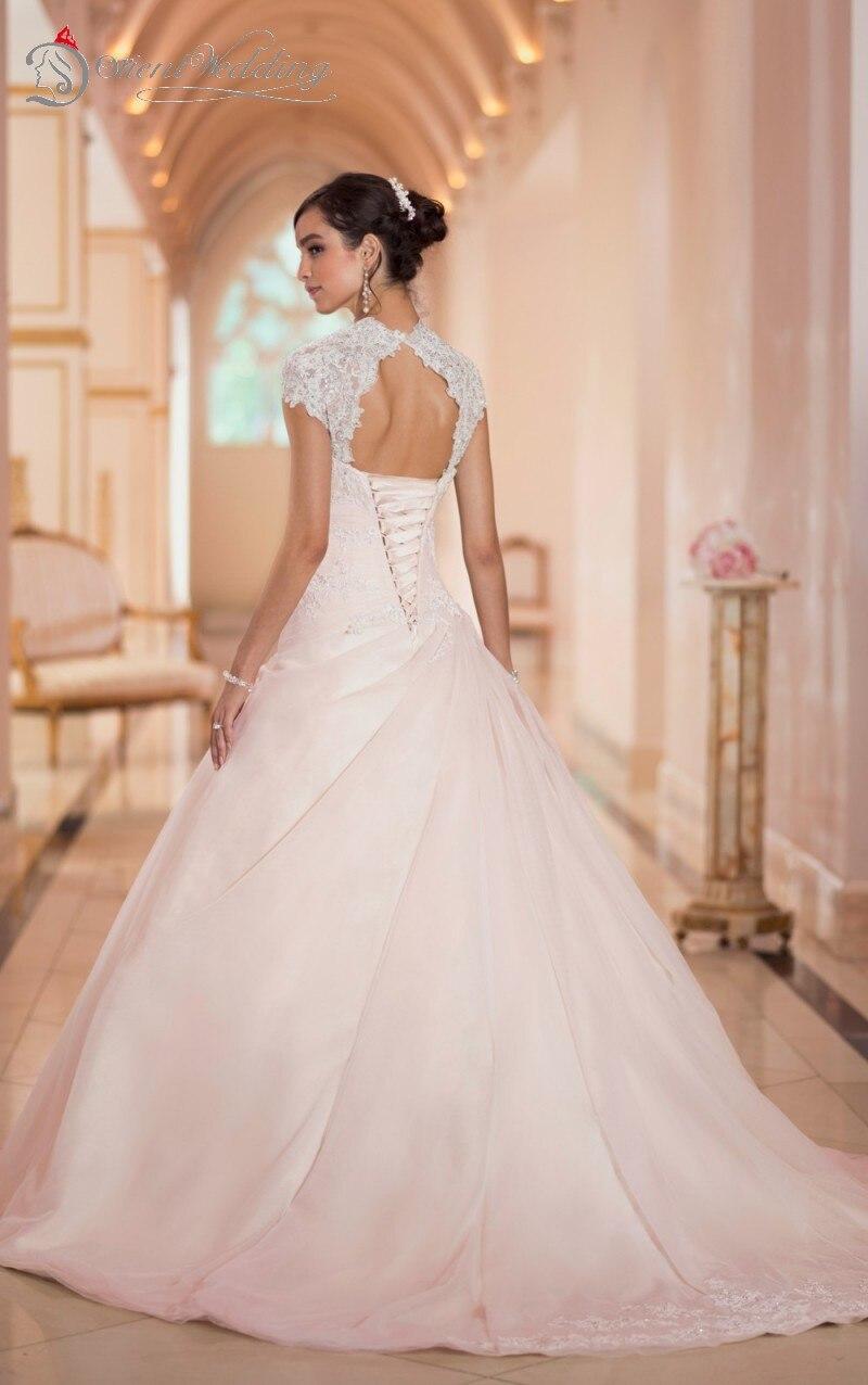Stella York robes de mariée une ligne chérie Peplum dentelle , up retour Cap manches robes