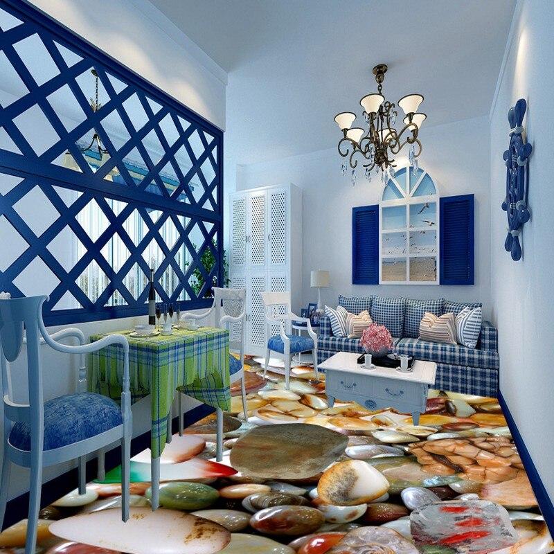 Free Shipping Fashion jade 3D floor decorative painting waterproof balcony self-adhesive living room flooring wallpaper mural