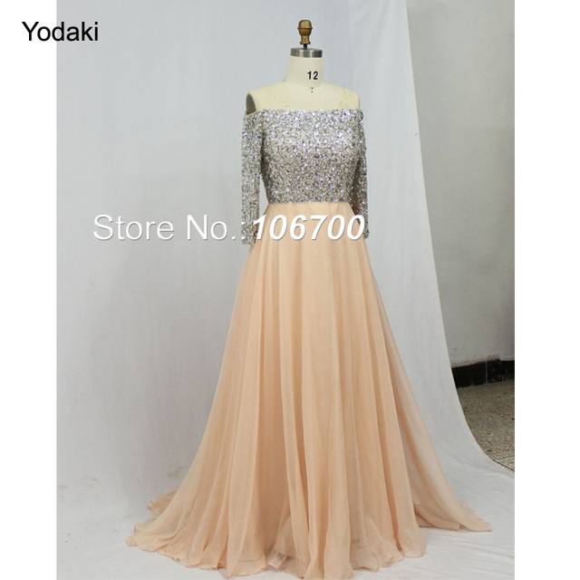 Stunning Hand Make Beading Prom Dresses Long Sleeves Off the Shoulder A  Line Pink Color Chiffon Party Evening Gowns 2018 925971bfb7de