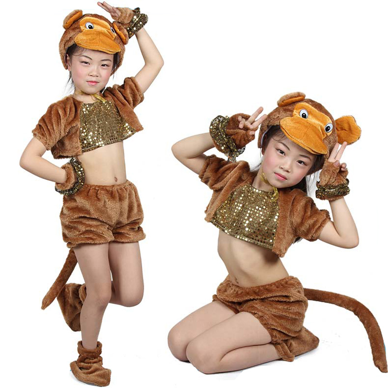 Children Kid Long Plush Animal Cartoon Monkey Wolf Bear Halloween Party Costume Hat Shoes Gloves For Boy And Girl