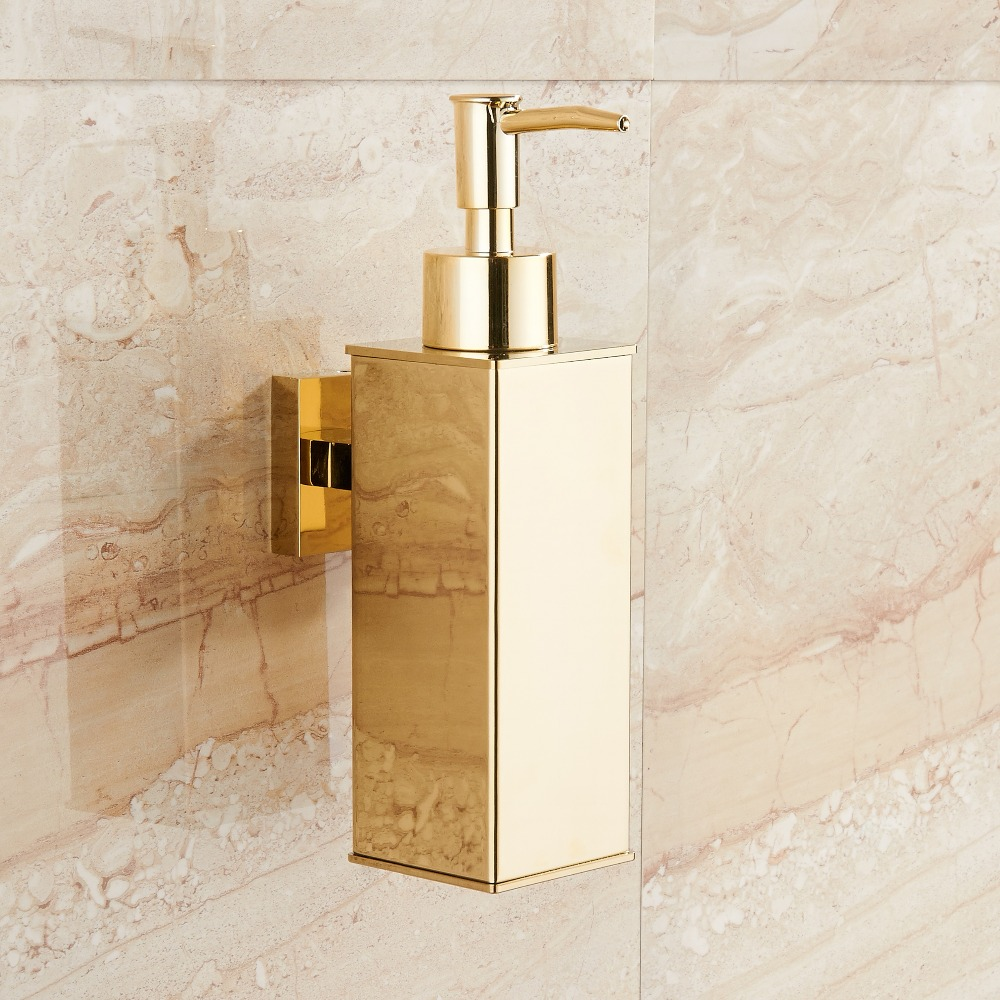 Image 2 - Stainless steel soap dispenser hand Liquid Soap Dispenser squeeze wall mounted hotel bathroom kitchen square design-in Liquid Soap Dispensers from Home Improvement