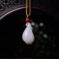 Natural Hetian Jade Necklace Pendant Magnolia Flower Gemstone 29.8x16.6x10.5mm Women Anniversary Love Lucky Gift Pendant Jewelry