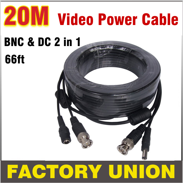 66ft 20m BNC Cable CCTV Cable BNC + DC plug cable Power video Plug and Play Cable for CCTV Camera system and DVRs  high quality 40m cctv cable bnc dc plug video and power cable for cctv camera and dvrs black color coaxial cable free shipping