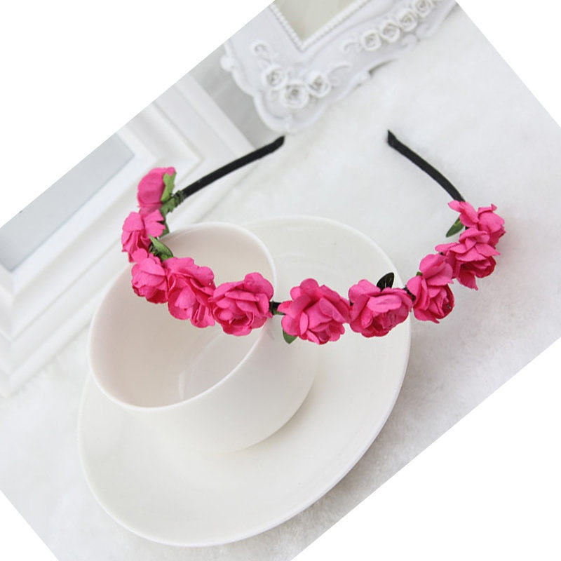 1 pcs Sweet Summer Style Headband Beautiful Hairband Rose Flower Crown  Floral Garland Bridal Wedding Festival 4d7a0964b47