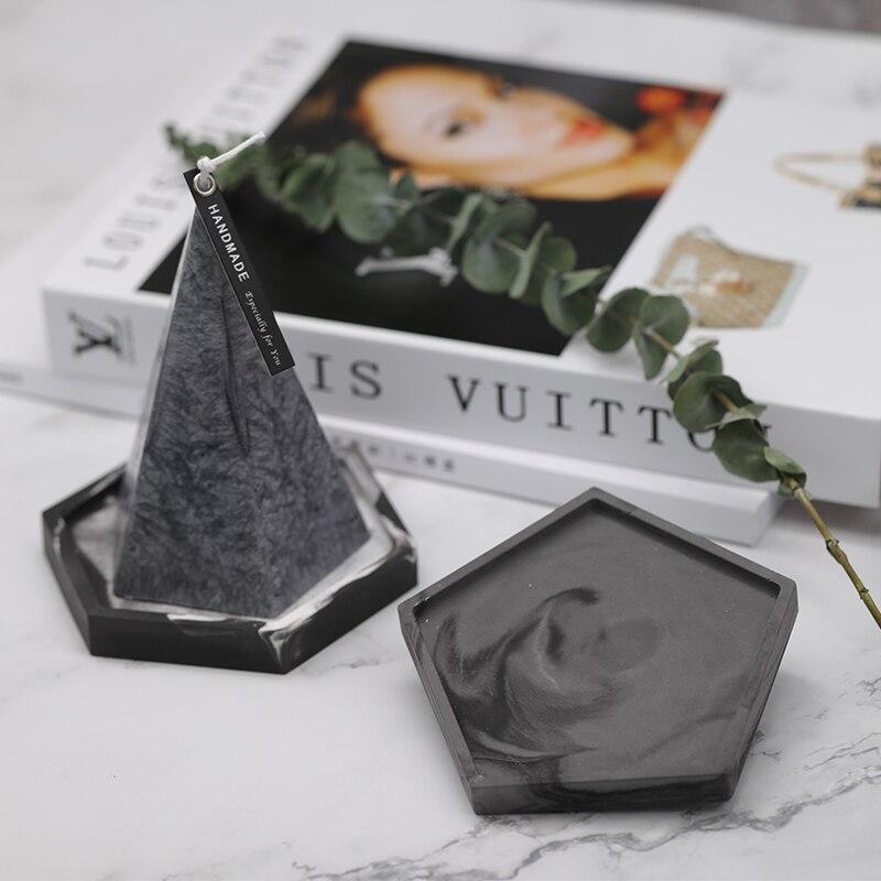 Pentagonal Concrete Tray Silicone Mold Hexagon Candlestick Crafts Mould Office Decoration Cement Flowerpot Pedestal Molds