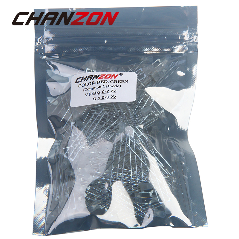 Chanzon 100pcs Led 3mm Diffused Common Cathode Green And Red 3 Pin Round 3 Mm Bi-color Led Through Hole Light-emitting Diode Electronic Components & Supplies Diodes
