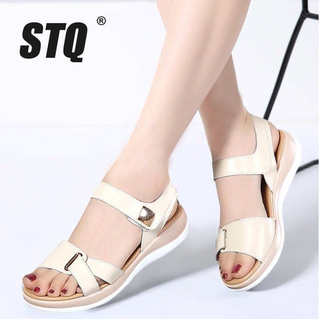 Flat Sandals Summer 2019 Stq Genuine Female Women Leather 0wnkO8P