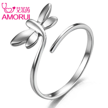 AMORUI Women Open Adjustable Wedding Rings Silver Animal Dragonfly Engagement Woman Trendy Rings Femme Fashion Jewelry Anillo