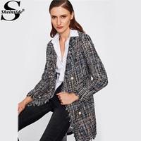 Sheinside Frayed Edge Tweed Longline Blazer 2017 Black Notch Lapel Plaid Elegant Blazer Women Work Wear